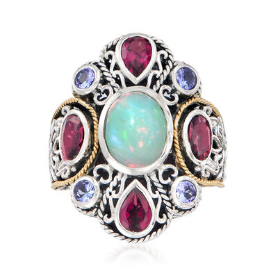 Opal and Multi-Gemstone Bali-Style Cluster Ring in Sterling Silver and 18kt Gold Over Sterling, , default