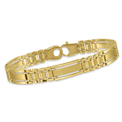 "Men's 14kt Yellow Gold Polished and Satin Link Bracelet. 8.5"", , default"