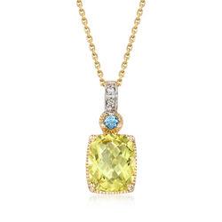 2.6 ct. t.w. Lemon Quartz Necklace in 14kt Yellow Gold, , default