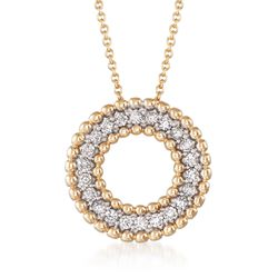 ".40 ct. t.w. Diamond Beaded Open Circle Necklace in 14kt Yellow Gold. 18"", , default"