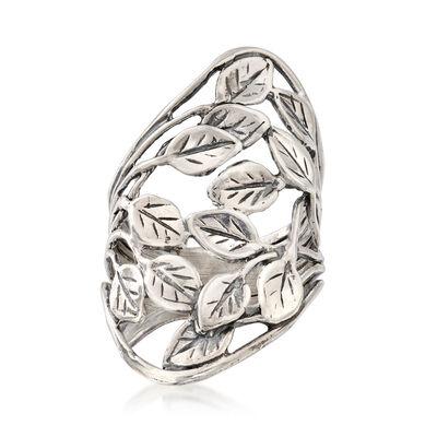 Openwork Leaf Vine Ring in Sterling Silver, , default