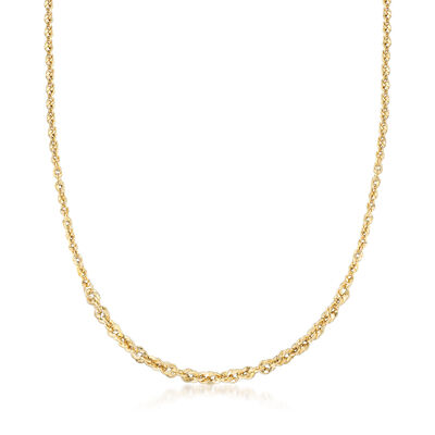 Italian 14kt Yellow Gold Graduated Twisted Link Necklace, , default