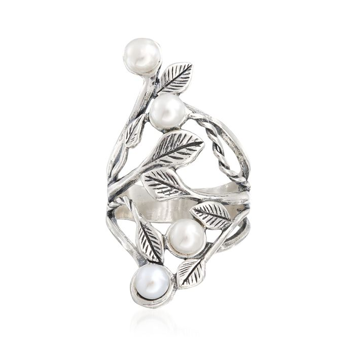 4.5-5mm Cultured Pearl Open-Space Leaf Ring in Sterling Silver, , default