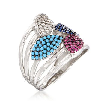 Simulated Turquoise and .50 ct. t.w. Multicolored CZ Ring in Sterling Silver, , default