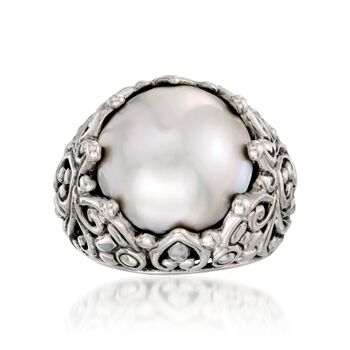 15mm Cultured Mabe Pearl Ring in Sterling Silver, , default