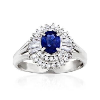 C. 1980 Vintage .66 Carat Sapphire and .35 ct. t.w. Diamond Ring in Platinum