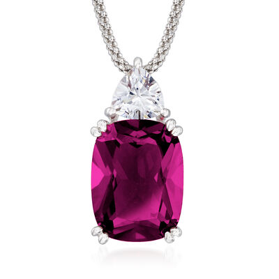 12.70 Carat Simulated Ruby and 1.20 Carat CZ Necklace in Sterling Silver, , default