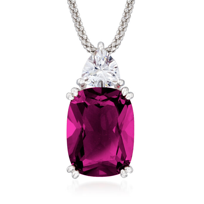 12.70 Carat Simulated Ruby and 1.20 Carat CZ Necklace in Sterling Silver