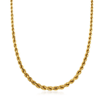 C. 1980 Vintage 14kt Yellow Gold Rope Chain Necklace, , default