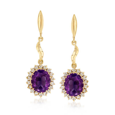C. 1960 Vintage 8.30 ct. t.w. Amethyst and 1.25 ct. t.w. Diamond Drop Earrings in 14kt Yellow Gold, , default