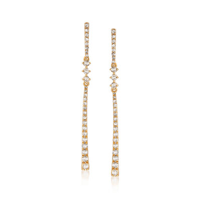 .50 ct. t.w. Diamond Linear Drop Earrings in 18kt Gold Over Sterling