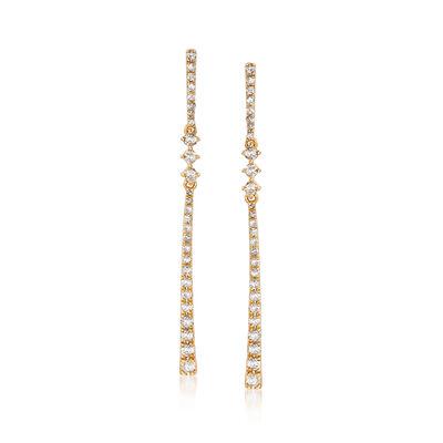 .50 ct. t.w. Diamond Linear Drop Earrings in 18kt Gold Over Sterling, , default
