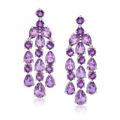 17.20 ct. t.w. Amethyst Chandelier Drop Earrings in Sterling Silver, , default