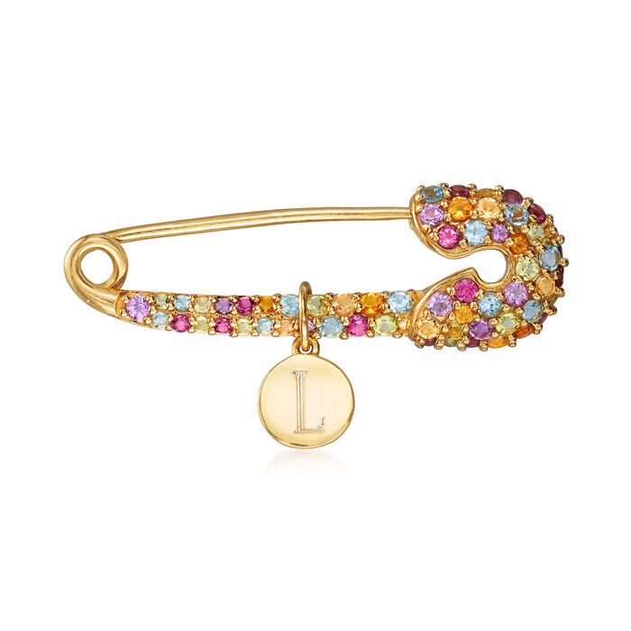 1.30 ct. t.w. Multi-Gem Personalized Safety Pin in 18kt Gold Over Sterling, , default