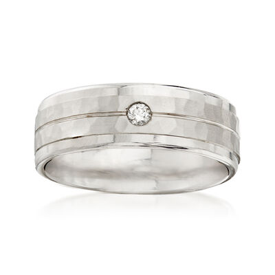 Men's 6.5mm 14kt White Gold Wedding Band with Diamond Accent