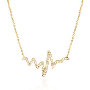 """.25 ct. t.w. CZ Heartbeat Necklace in 14kt Yellow Gold. 16"""", , default"""