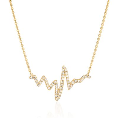 .25 ct. t.w. CZ Heartbeat Necklace in 14kt Yellow Gold, , default