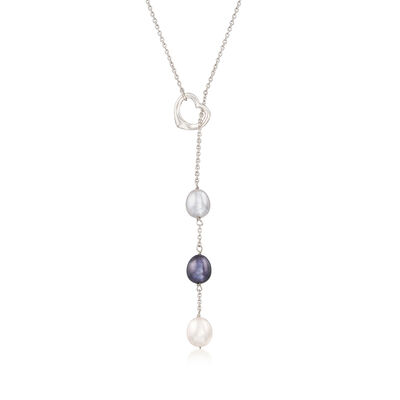 Multicolored Cultured Pearl Adjustable Necklace in Sterling Silver, , default