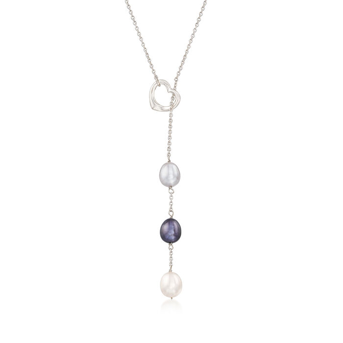 Multicolored Cultured Pearl Adjustable Necklace in Sterling Silver