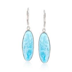 Oval Larimar Drop Earrings in Sterling Silver, , default