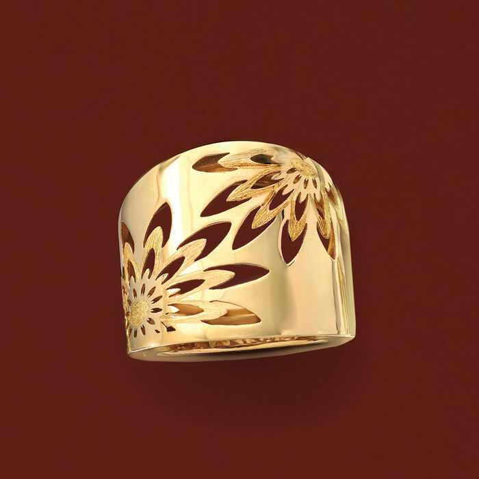 Italian 14kt Yellow Gold Openwork Floral Ring