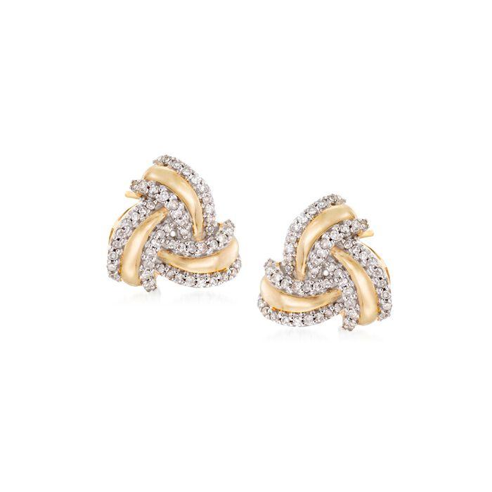 .25 ct. t.w. Diamond Love Knot Earrings in 14kt Yellow Gold, , default