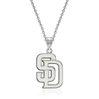 """Sterling Silver MLB San Diego Padres Pendant Necklace. 18"""", , default"""