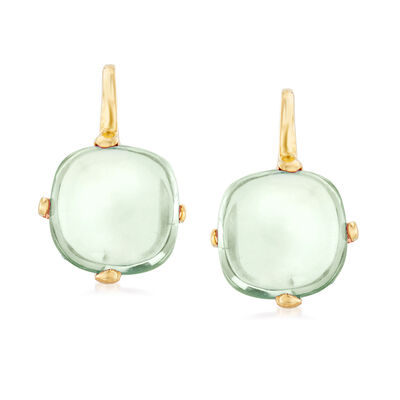 Italian 4.50 ct. t.w. Prasiolite Drop Earrings in 14kt Yellow Gold