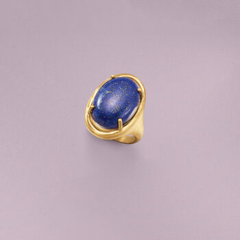 Lapis Ring in 14kt Gold Over Sterling