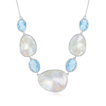 """Mother-Of-Pearl and 12.00 ct. t.w. Blue Topaz Necklace in Sterling Silver. 16"""", , default"""