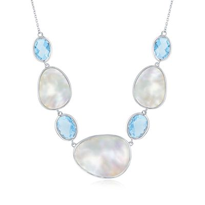 Mother-Of-Pearl and 12.00 ct. t.w. Blue Topaz Necklace in Sterling Silver, , default