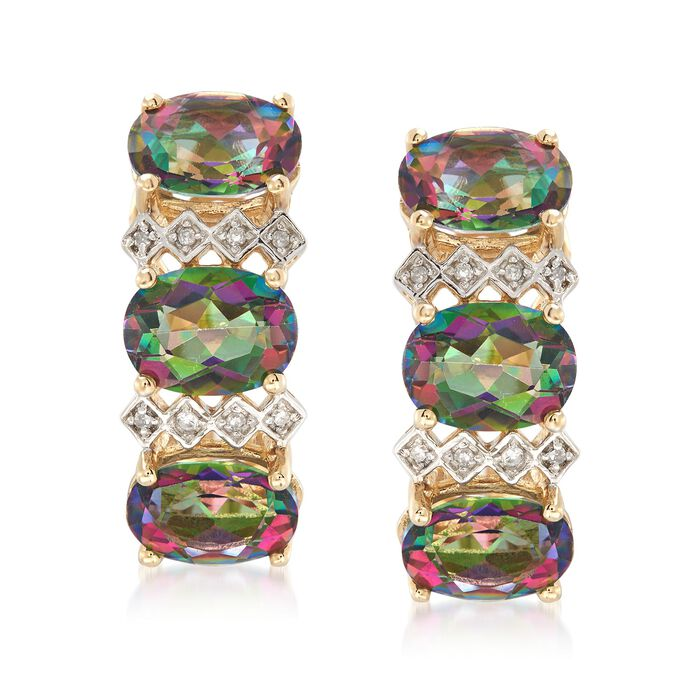 8.75 ct. t.w. Multicolored Topaz Earring in 14kt Yellow Gold with Diamond Accents, , default