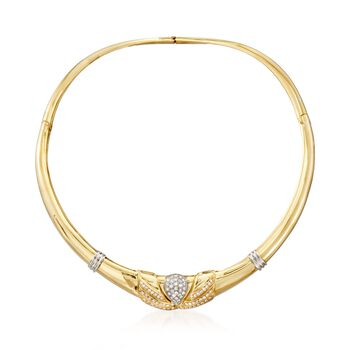 """C. 1990 Vintage 1.75 ct. t.w. Diamond Collar Necklace in 18kt Two-Tone Gold. 16"""", , default"""