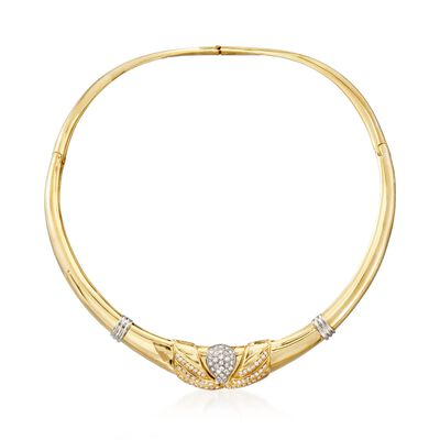 C. 1990 Vintage 1.75 ct. t.w. Diamond Collar Necklace in 18kt Two-Tone Gold, , default