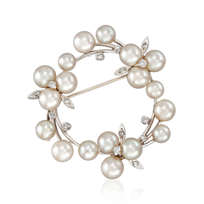 C. 1970 Vintage 5x6mm Cultured Pearl and .30 ct. t.w. Diamond Circle Pin in 14kt White Gold