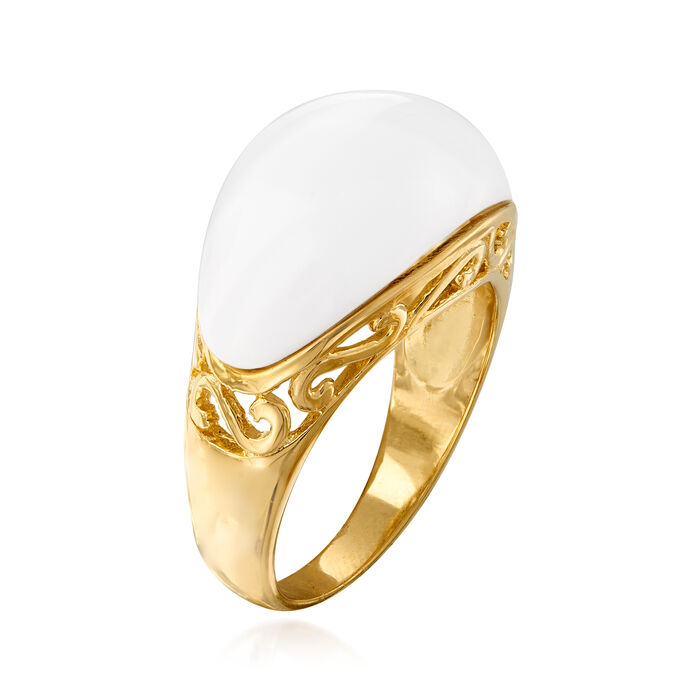 White Agate Ring in 18kt Gold Over Sterling