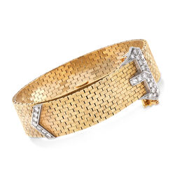 C. 1960 Vintage Women's Diamond Buckle Manual Watch in 14kt Yellow Gold, , default