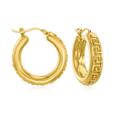 Italian Andiamo 14kt Yellow Gold Greek Key Hoop Earrings