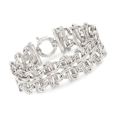 Sterling Silver Textured and Polished Interlocking Double-Oval Link Bracelet, , default