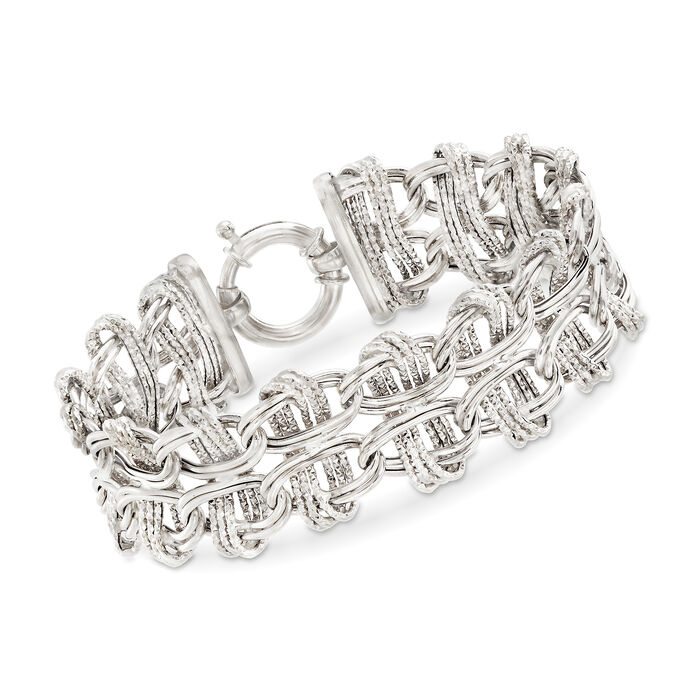 "Sterling Silver Textured and Polished Interlocking Double-Oval Link Bracelet. 7"", , default"