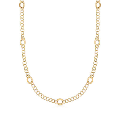 Italian 18kt Yellow Gold Link Necklace, , default