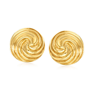Italian 18kt Yellow Gold Swirl Dome Earrings, , default