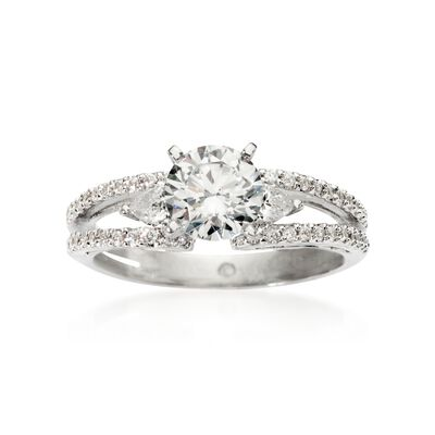 Gabriel Designs .45 ct. t.w. Diamond Engagement Ring Setting in 14kt White Gold