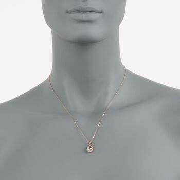 1.70 Carat Morganite Drop Necklace with Diamonds in 14kt Rose Gold. 18""