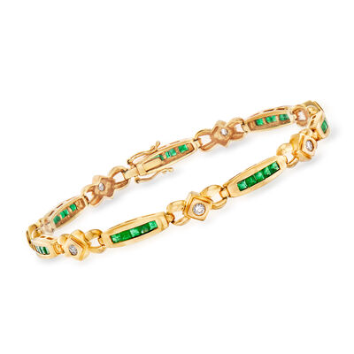 C. 1980 Vintage 2.10 ct. t.w. Emerald and .45 ct. t.w. Diamond Bracelet in 18kt Yellow Gold