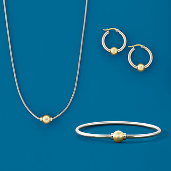 """Cape Cod Jewelry Sterling Silver and 14kt Yellow Gold Hoop Earrings. 7/8"""", , default"""