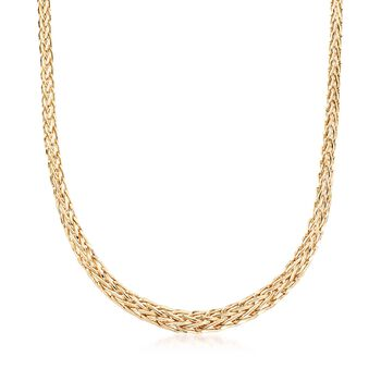 18kt Yellow Gold Over Sterling Silver Wheat-Link Necklace, , default
