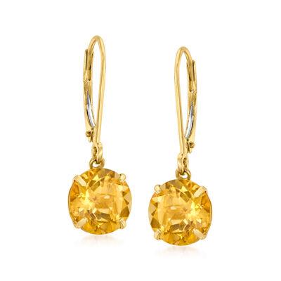 3.50 ct. t.w. Citrine Drop Earrings in 14kt Yellow Gold
