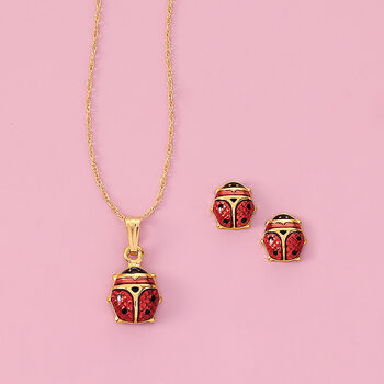 Child's Red Enamel Ladybug Stud Earrings in 14kt Yellow Gold, , default