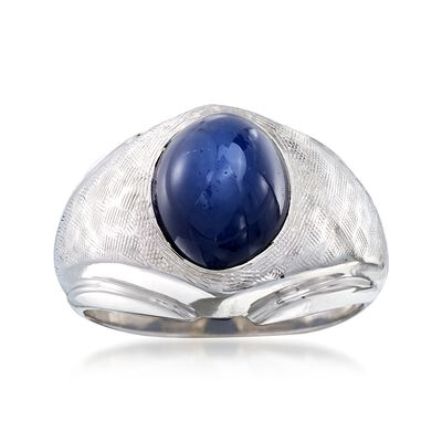 C. 1970 Vintage 4.90 Carat Synthetic Sapphire Dome Ring in 14kt White Gold, , default